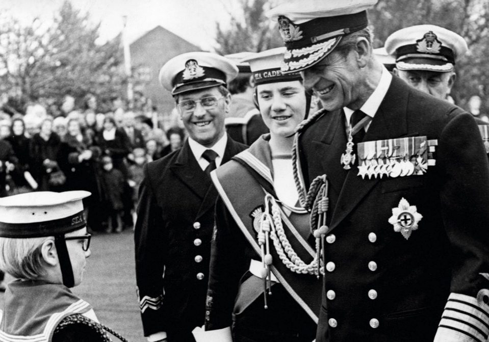 Prince Philip, Duke of Edinburgh, inspecting the Royal Guard of Sea Cadets at the Knightsbridge TAVR Drill Hall - The little drummer boy talks to the Duke (Photo by NCJ Archive/Mirrorpix/Mirrorpix via Getty Images)